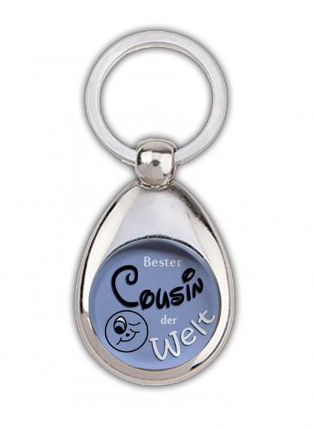 """""""Bester Cousin der Welt"""" blau, Schlüsselanhänger mit Einkaufswagenchip in Magnethalterung"""