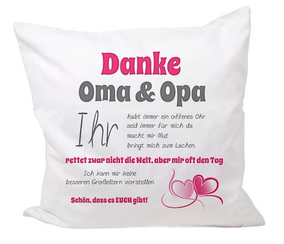 """Kissen """"Danke Oma und Opa..."""" Motiv 01"""
