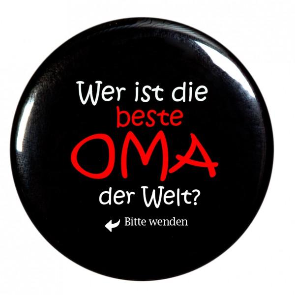 beste Oma Taschenspiegel, Spiegel, Button, rund, 56mm Durchmesser
