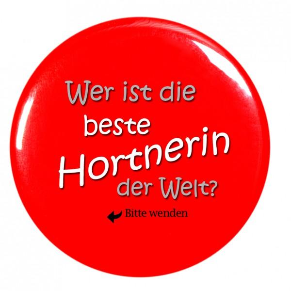 beste Hortnerin, rot Taschenspiegel, Spiegel, Button, rund, 56mm Durchmesser