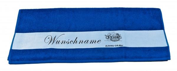 Sternzeichen Stier und Wunschname Badetuch Duschtuch Handtuch