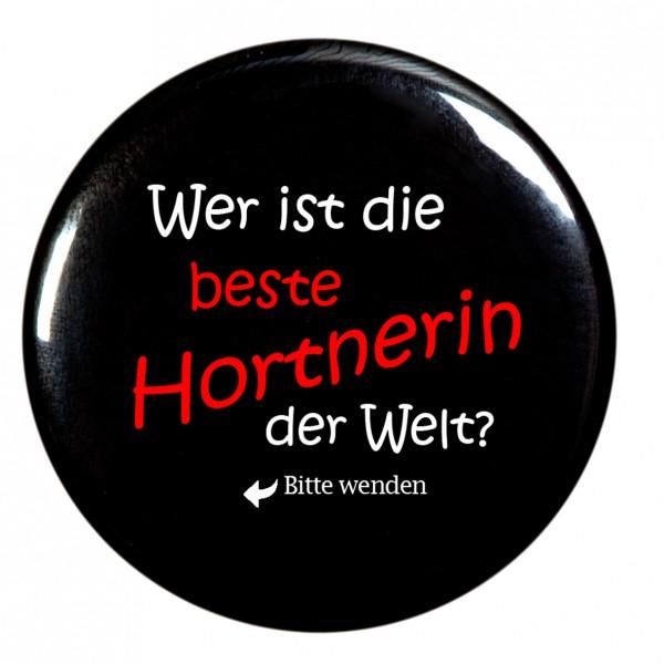 beste Hortnerin, schwarz Taschenspiegel, Spiegel, Button, rund, 56mm Durchmesser