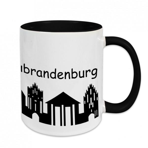 Städtetasse Neubrandenburg Skyline weiß Innenfarbe und Henkel schwarz