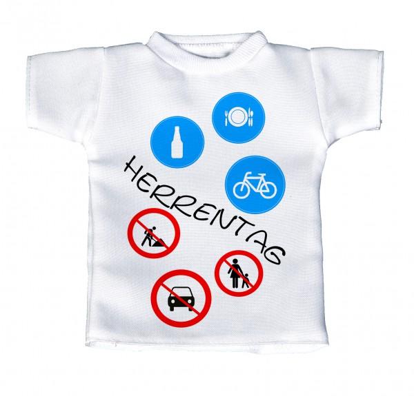 Herrentag - Mini T-Shirt, Flaschenshirt, Autofensterdekoration, weiß mit aussagekräftigen Spruch