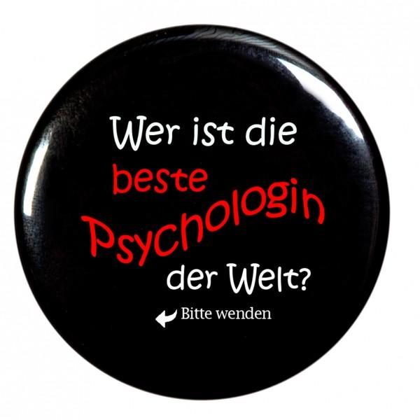 beste Psychologin Taschenspiegel, Spiegel, Button, rund, 56mm Durchmesser