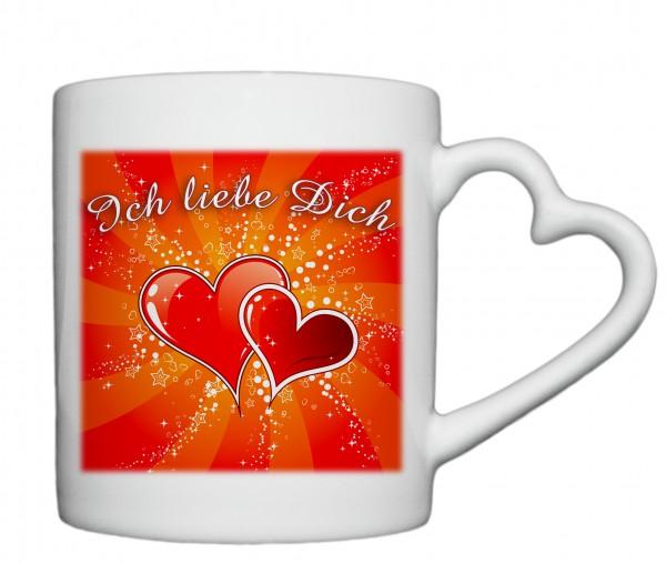 """""""Ich liebe Dich"""", Tasse, Keramiktasse mit Herzhenkel"""