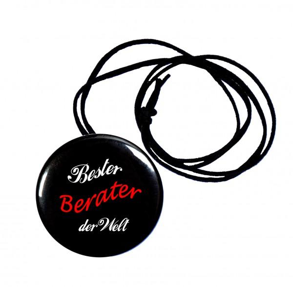 Bester Berater runder Flaschenöffner, Button, 56 mm, mit Spruch inkl. Band zum Umhängen