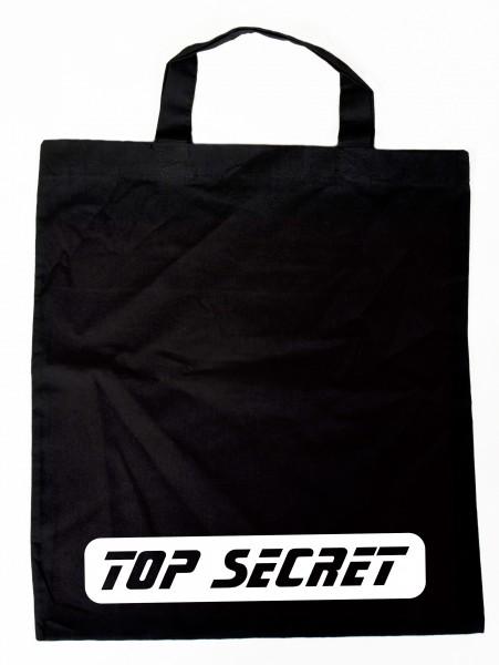 TOP SECRET weiss - Baumwollbeutel, Tasche, Bag - witziger Spruch