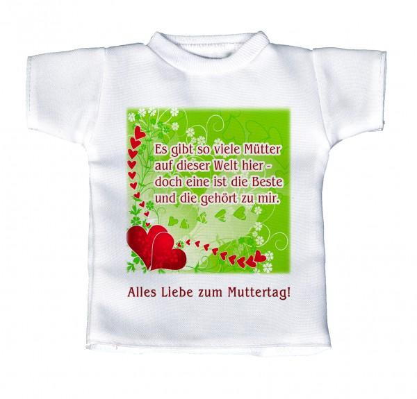 Alles liebe zum Muttertag! - Mini T-Shirt, Flaschenshirt, Autofensterdekoration, weiß mit aussagekräftigen Spruch