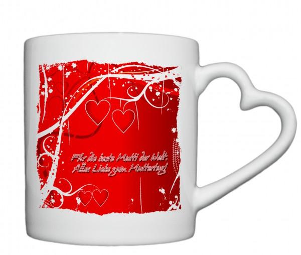 """""""Für die beste Mutti der Welt, alles Liebe zum Muttertag"""" Tasse, Keramiktasse mit Herzhenkel"""
