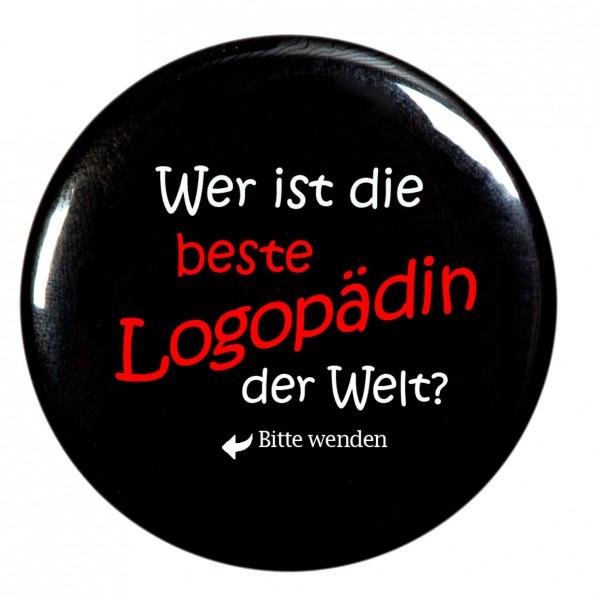 """""""Wer ist die beste Logopädin der Welt"""" Taschenspiegel, Spiegel, Button, schwarz, rund, 56mm Durchmesser"""
