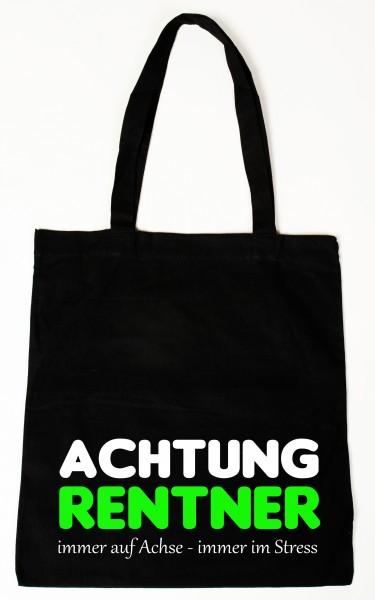 Achtung Rentner Baumwollbeutel, Tasche, Bag - witziger Spruch