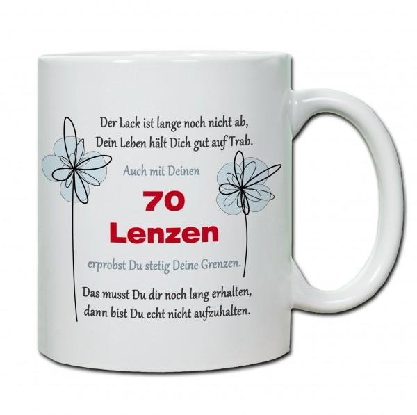 """Tasse 70. Geburtstag """"Der Lack ist lange noch nicht ab..."""""""