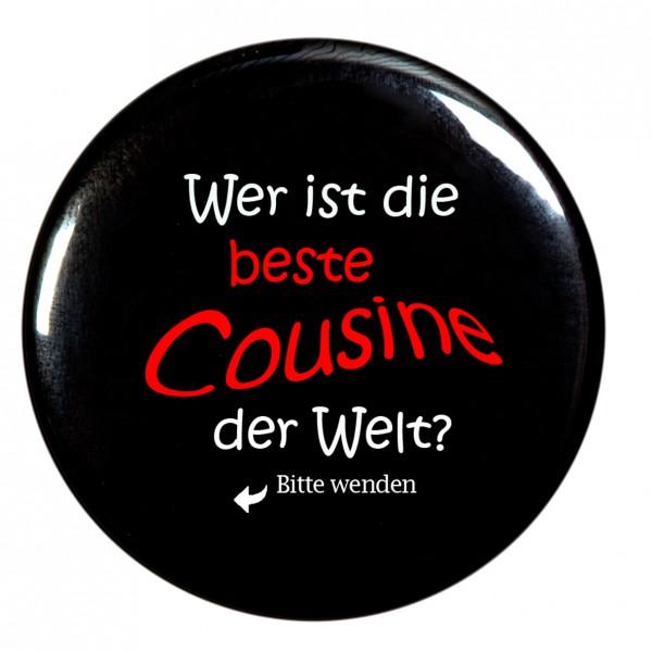 beste Cousine Taschenspiegel, Spiegel, Button, rund, 56mm Durchmesser