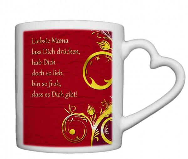 """""""Liebste Mama01"""" Tasse, Keramiktasse mit Herzhenkel"""