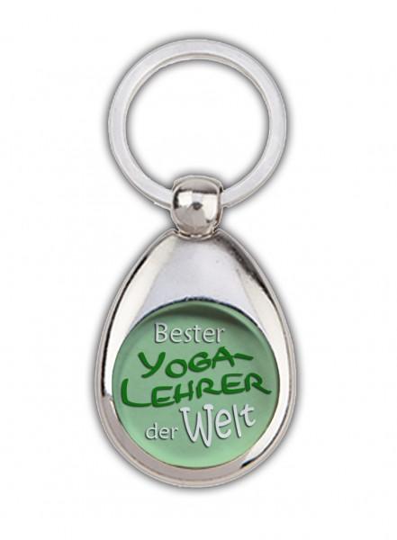 """""""Bester Yogalehrer der Welt"""" grün, Schlüsselanhänger mit Einkaufswagenchip in Magnethalterung"""