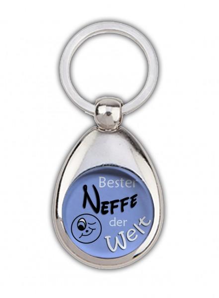 """""""Bester Neffe der Welt"""" blau, Schlüsselanhänger mit Einkaufswagenchip in Magnethalterung"""