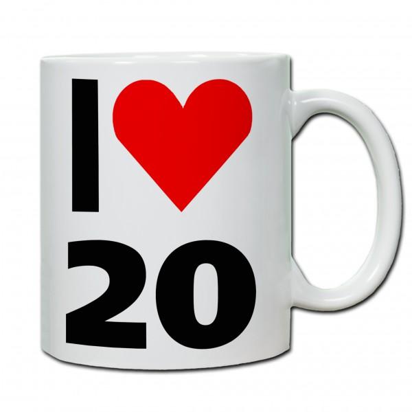 """""""20. Geburtstag - Tasse 01"""" Tasse, Keramiktasse"""