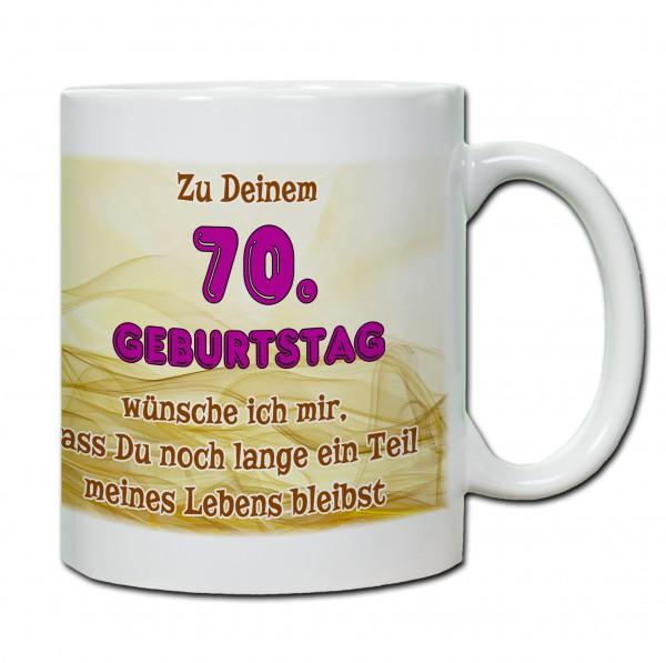"""Tasse 70. Geburtstag """"...ein Teil meines Lebens bleibst"""" rosa"""