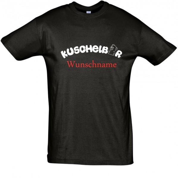 """Kuschelbär"" mit Wunschname T-Shirt, Schlaf-Shirt (Foliendruck)"