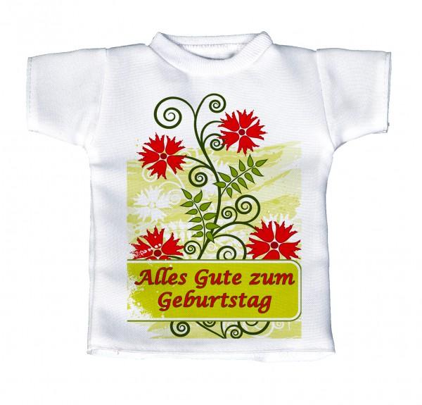 Alles Gute zum Geburtstag - Mini T-Shirt, Flaschenshirt, Autofensterdekoration, weiß mit aussagekräftigen Spruch