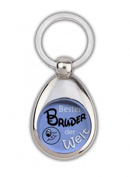 """""""Bester Bruder der Welt"""" grün/blau, Schlüsselanhänger mit Einkaufswagenchip in Magnethalterung"""
