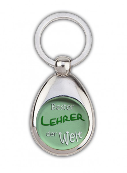 """""""Bester Lehrer der Welt"""" grün, Schlüsselanhänger mit Einkaufswagenchip in Magnethalterung"""