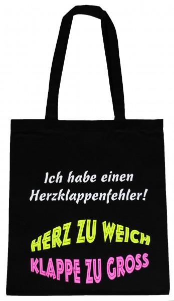 Herz Klappe ... Baumwollbeutel, Tasche, Bag - witziger Spruch Neon Shopper