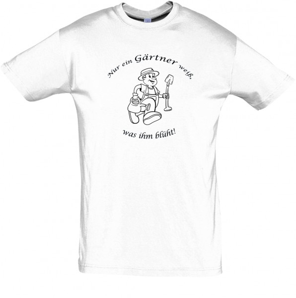 """Gärtner weiß was blüht"" T-Shirt, Fun-T-Shirt - bedruckt mit Folie"
