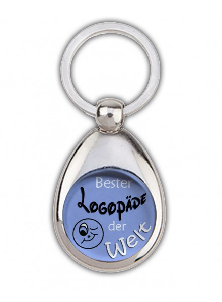 """""""Bester Logopäde der Welt"""" Schlüsselanhänger, blau, mit Einkaufswagenchip in Magnethalterung"""