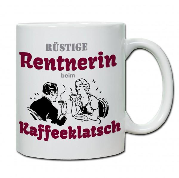 Rüstige Rentnerin beim Kaffeeklatsch Tasse, Keramiktasse