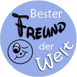"""""""Bester Freund der Welt"""" grün/blau, Schlüsselanhänger mit Einkaufswagenchip in Magnethalterung"""