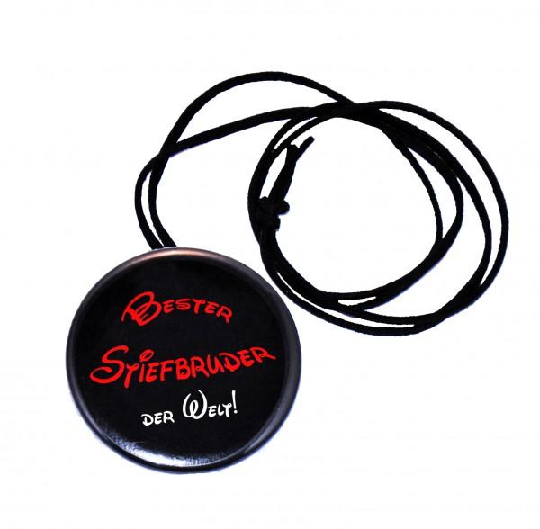 Bester Stiefbruder runder Flaschenöffner, Button, 56 mm, mit Spruch inkl. Band zum Umhängen