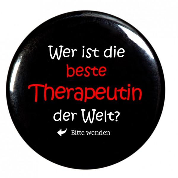 beste Therapeutin Taschenspiegel, Spiegel, Button, rund, 56mm Durchmesser