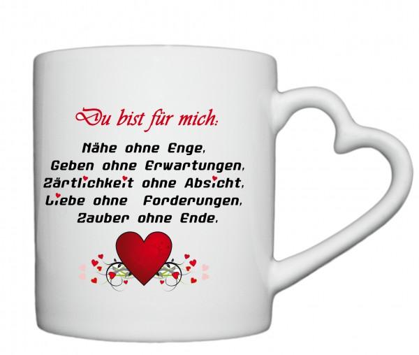 """""""Du bist für mich da..."""", Tasse, Keramiktasse mit Herzhenkel"""