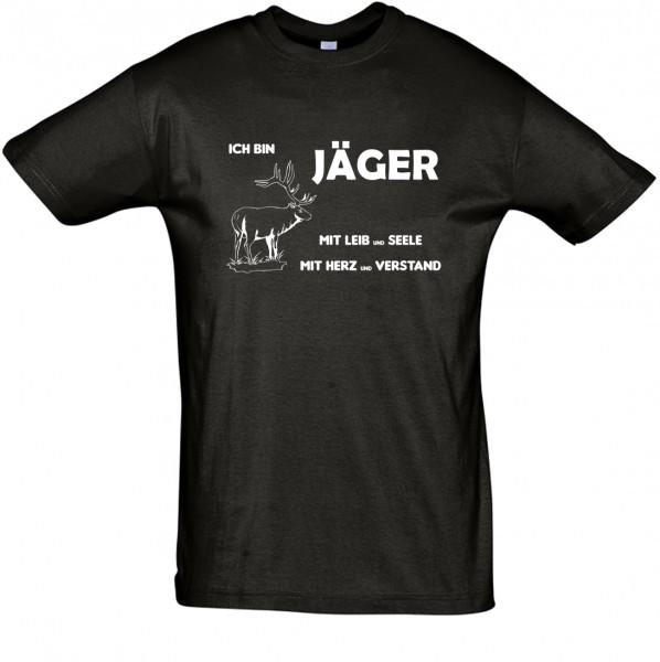 Jäger mit Leib und Seele T-Shirt, Fun-T-Shirt - bedruckt mit Folie