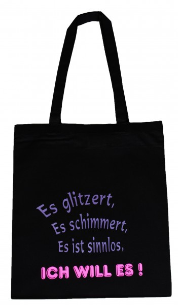 Es glitzert ... Baumwollbeutel, Tasche, Bag - witziger Spruch Neon Shopper