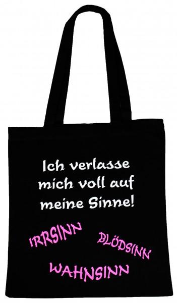Wahnsinn Blödsinn ... Baumwollbeutel, Tasche, Bag - witziger Spruch Neon Shopper