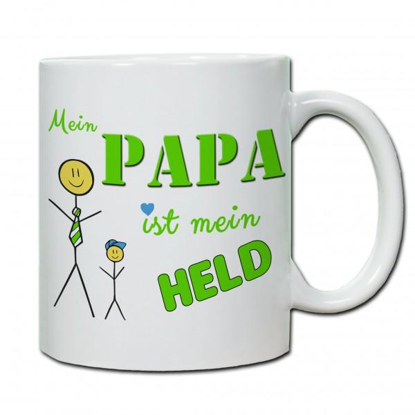 Tasse zum Vatertag Mein Papa ist mein Held (Sohn)