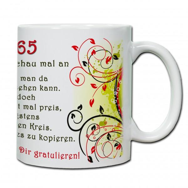 """""""65. Geburtstag - Tasse 02"""" Tasse, Keramiktasse"""