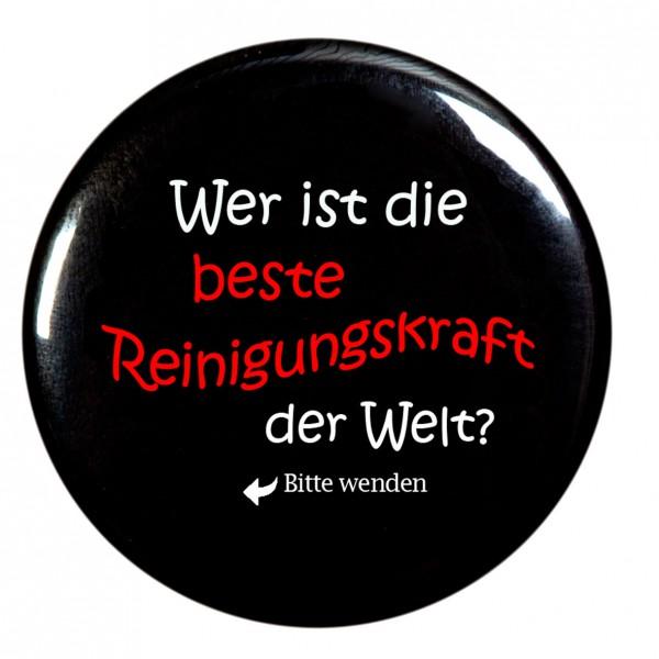 """""""Wer ist die beste Reinigungskraft der Welt """" Taschenspiegel, Spiegel, Button, rund, 56mm Durchmesser"""