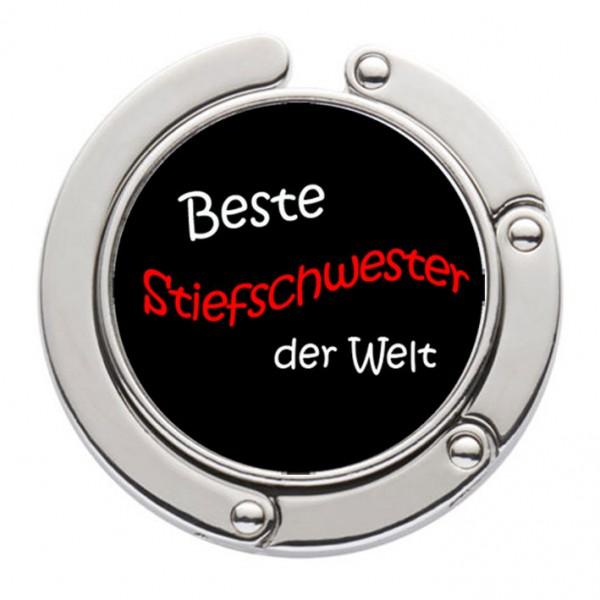 """""""Beste Stiefschwester der Welt"""" Taschenhalter mit magnet. Gliederhalterung - Taschenhaken & Handtaschenhalter"""