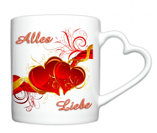 """""""Alles Liebe zum Valentinstag"""", Tasse, Keramiktasse mit Herzhenkel"""