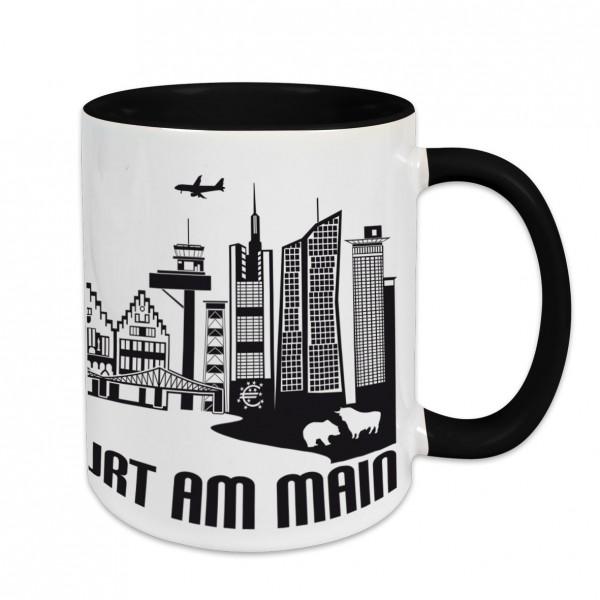 Städtetasse I love Frankfurt am Main weiß Innenfarbe und Henkel schwarz