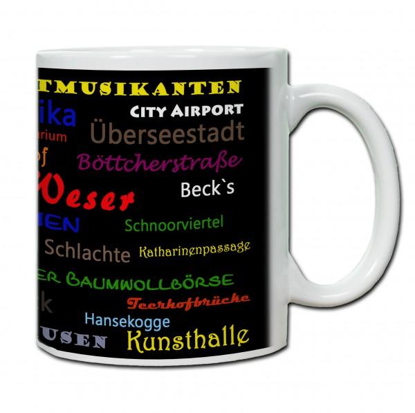 Städtetasse Bremen02 schwarz