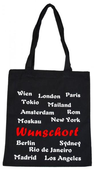 Stadt Wunschort - Baumwolltasche, Beutel, Bag - Shopper