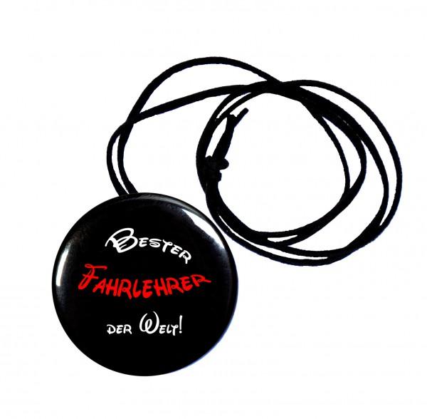 Bester Fahrlehrer runder Flaschenöffner, Button, 56 mm, mit Spruch inkl. Band zum Umhängen