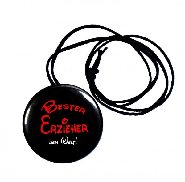 Bester Erzieher runder Flaschenöffner, Button, 56 mm, mit Spruch inkl. Band zum Umhängen