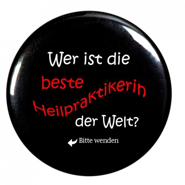 beste Heilpraktikerin Taschenspiegel, Spiegel, Button, rund, 56mm Durchmesser