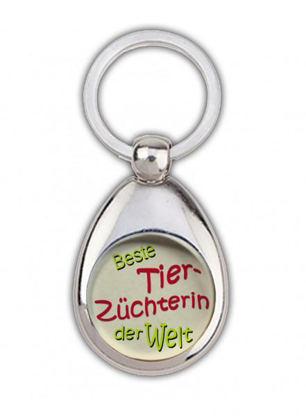 """""""Beste Tierzüchterin der Welt"""" Schlüsselanhänger, beige, mit Einkaufswagenchip in Magnethalterung"""